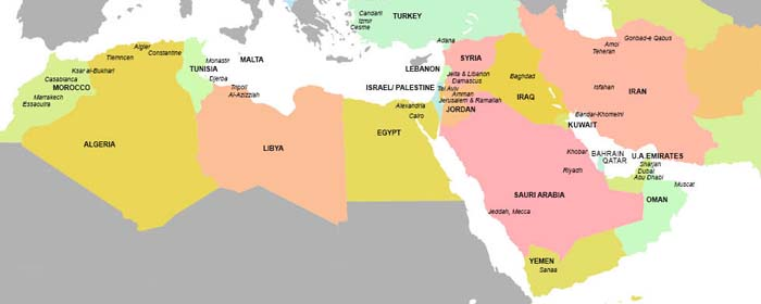 Map of the Middle East and Northern Africa